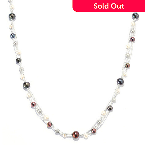 133-938 - 5-6.5mm & 9-10mm Freshwater Cultured Pearl 60'' Endless Station Necklace