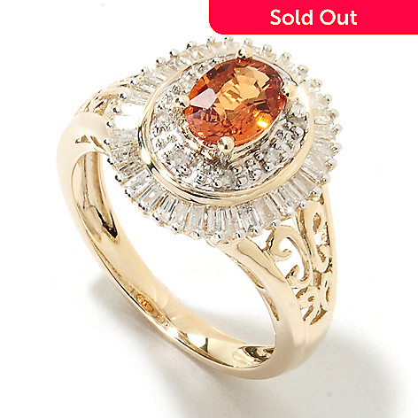133-943 - Gem Treasures 14K Gold 1.36ctw Spessartite & Diamond Halo Cut-out Ring