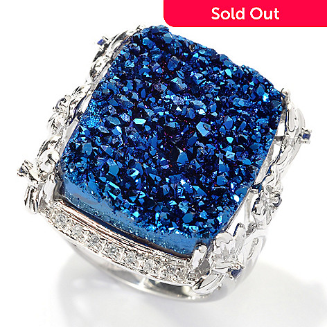 133-945 - Gem Insider™ Sterling Silver 21 x 17mm Blue Drusy, Sapphire & White Zircon Ring