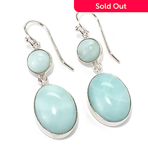 133-949 - Gem Insider™ Sterling Silver 1.5'' Amazonite Double Drop Earrings