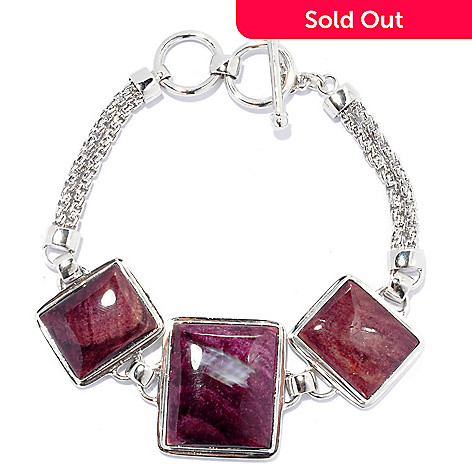 133-952 - Gem Insider™ 8'' Sterling Silver 22 x 19mm Purple Spiny Oyster Shell Toggle Bracelet