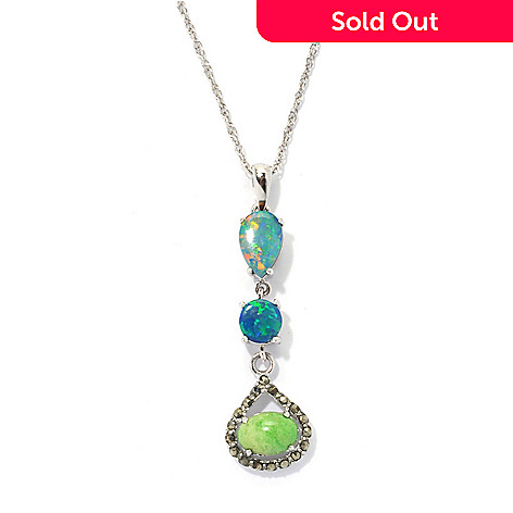 133-957 - Gem Insider Sterling Silver Opal Doublet, Gaspeite & Marcasite Pendant w/ Chain