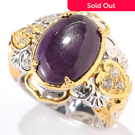 133-958 - Gems en Vogue 14 x 10mm Oval Sugilite Cabochon & White Sapphire Ring