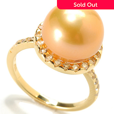 133-962 - 11-12mm Button Shaped Freshwater Cultured Pearl & White Topaz Ring
