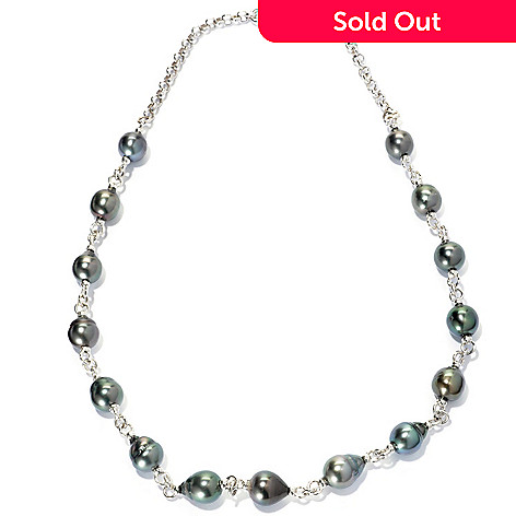 133-964 - Sterling Silver 18'' 9-10mm Black Tahitian Cultured Pearl Station Necklace