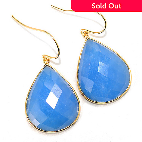 133-967 - 1.5'' 23 x 18mm Checkerboard Cut Dyed Blue Kunlun Jade Drop Earrings