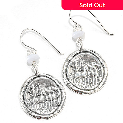 133-971 - Passage to Israel™ Sterling Silver 1.75'' 6mm Blue Lace Agate Circle Drop Earrings