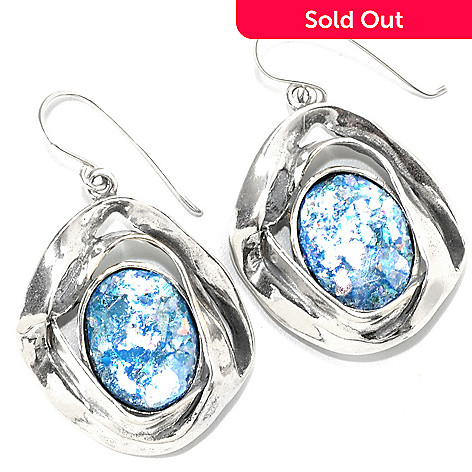 133-972 - Passage to Israel™ Sterling Silver 1.5'' 16 x 12mm Oval Roman Glass Ribbon Drop Earrings
