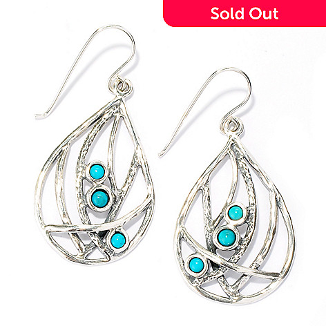 133-974 - Passage to Israel™ Sterling Silver 1.75'' Turquoise Teardrop Earrings