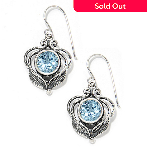 133-976 - Passage to Israel™ Sterling Silver 1.25'' Gemstone Leaf & Vine Drop Earrings