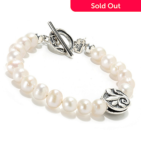 133-978 - Passage to Israel Sterling Silver 7.5-8mm Freshwater Cultured Pearl Toggle Bracelet