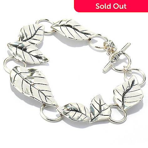 133-980 - Passage to Israel™ Sterling Silver Leaf Link Toggle Bracelet, 18.85 grams
