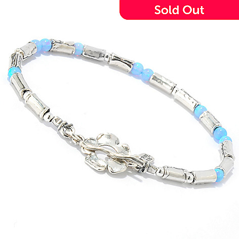 133-981 - Passage to Israel Sterling Silver Simulated Blue Opal Beaded Toggle Bracelet