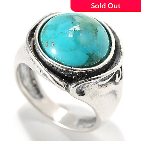 133-985 - Passage to Israel™ Sterling Silver 12mm Turquoise Cut-out Swirl Oxidized Ring