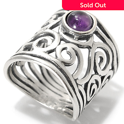 133-987 - Passage to Israel™ Sterling Silver Amethyst Cabochon Openwork Swirl Wide Band Ring