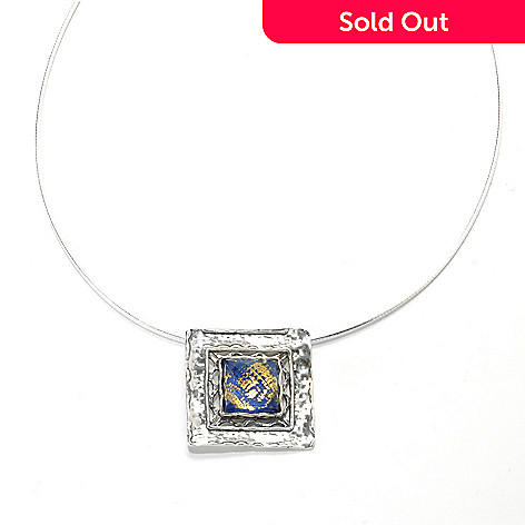 133-994 - Passage to Israel™ Sterling Silver 18'' Lapis & Quartz Doublet Square Drop Necklace