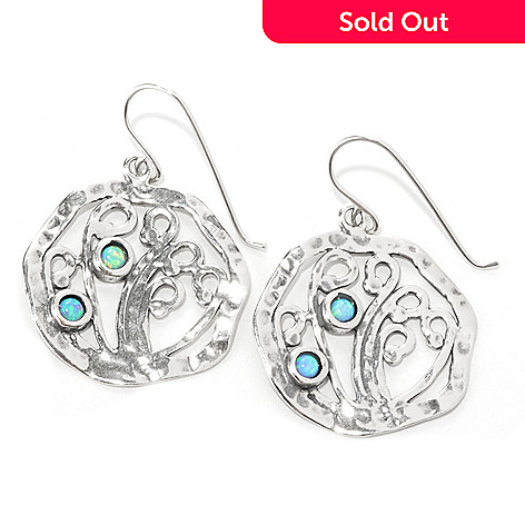133-998 - Passage to Israel™ Sterling Silver 1.5'' Simulated Blue Opal Hammered Swirl Earrings