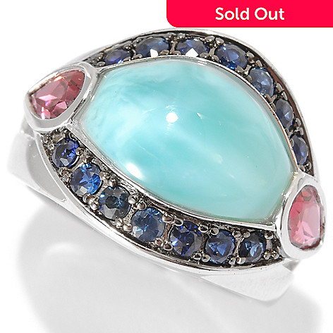 134-013 - Gem Insider™ Sterling Silver 13 x 10mm Larimar, Grape Rhodolite & Sapphire Ring