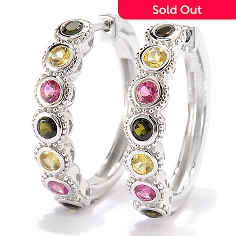 134-014 - Gem Insider™ Sterling Silver 1'' 1.68ctw Round Multi Tourmaline Hoop Earrings