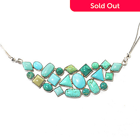 134-020 - Gem Insider Sterling Silver 18'' Multi Shape Nevada Turquoise Two-Strand Necklace