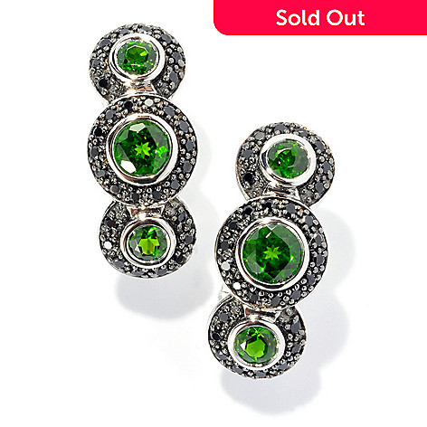 134-024 - Gem Insider® Sterling Silver 2.37ctw Chrome Diopside & Spinel Drop Earrings w/ Omega Backs