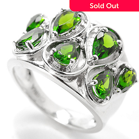 134-025 - Gem Insider™ Sterling Silver 2.20ctw Pear Cut Chrome Diopside Wavy Wide Ring