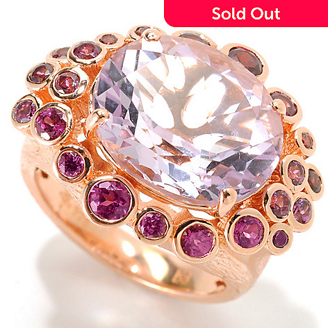 134-032 - Michelle Albala 7.02ctw Pink Amethyst & Brazilian Garnet Textured Ring