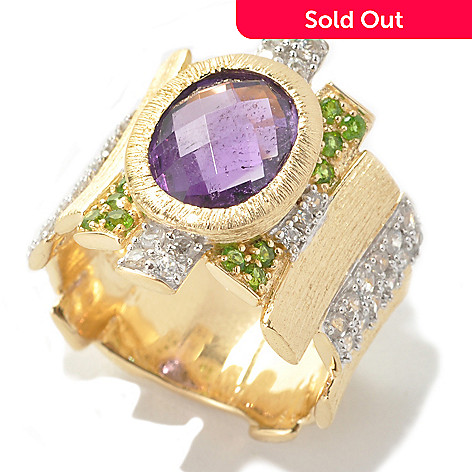 134-037 - Michelle Albala 2.60ctw African Amethyst & Multi Gemstone Staggered Edge Ring