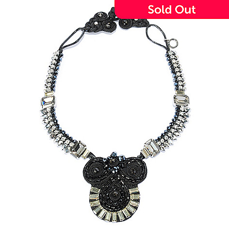 134-047 - RUSH 20'' Crystal, Glass, & Simulated Diamond Collar Statement Necklace