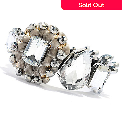 134-059 - RUSH 7.5'' Crystal, Simulated Diamond & Textured Coin Toggle Bracelet