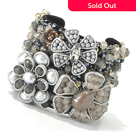 134-065 -  RUSH 7'' 9-10mm Freshwater Cultured Pearl Multi Flower Wide Cuff Bracelet