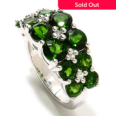 134-066 - Gem Treasures Sterling Silver 3.84ctw Chrome Diopside & White Topaz Wide Ring