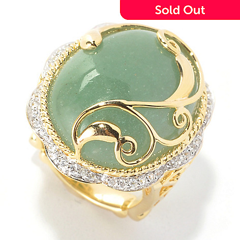 134-070 - Dallas Prince 23 x 18mm Green Aventurine & White Zircon Scrollwork Overlay Ring