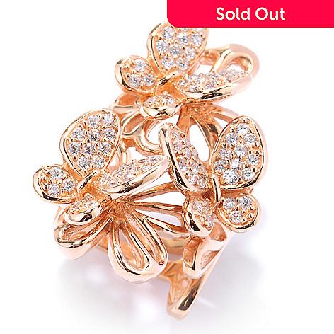 134-074 - Neda Behnam 1.17 DEW Pave Set Simulated Diamond Multi Layer Butterfly Ring