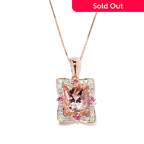 134-088 - Gem Treasures 14K Rose Gold 3.47ctw Morganite, Pink Tourmaline & Diamond Pendant