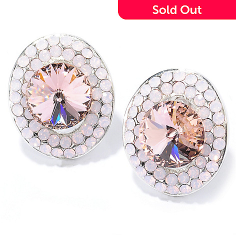 134-105 - Adaire™ Sterling Silver Oval Halo Button Earrings Made w/ Swarovski® Elements