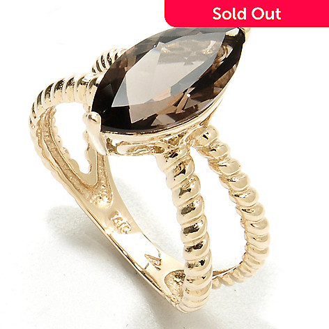 134-119 - Gem Treasures® 14K Gold 2.00ctw Marquise Cut Smoky Quartz Split Shank Ring