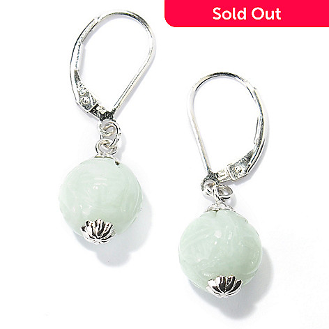 134-125 - Sterling Silver 1.25'' 10mm Carved Jade Ball Drop Earrings