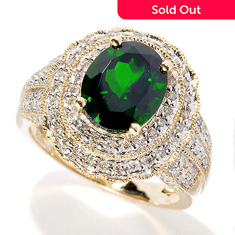 134-128 - Gem Treasures® 14K Gold 3.42ctw Chrome Diopside & Diamond Double Halo Ring