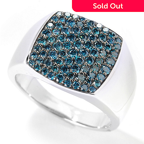 134-130 - Gem Treasures Men's Sterling Silver 1.22ctw Blue Diamond Square Top Ring