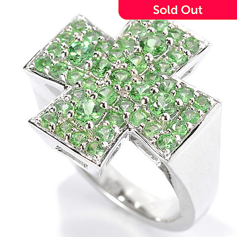 134-131 - Gem Treasures Men's Sterling Silver 2.49ctw Tsavorite Cross Ring