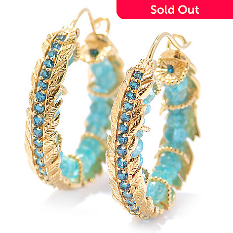 134-139 - Dallas Prince 1.25'' Apatite & London Blue Topaz Feather Design Hoop Earrings