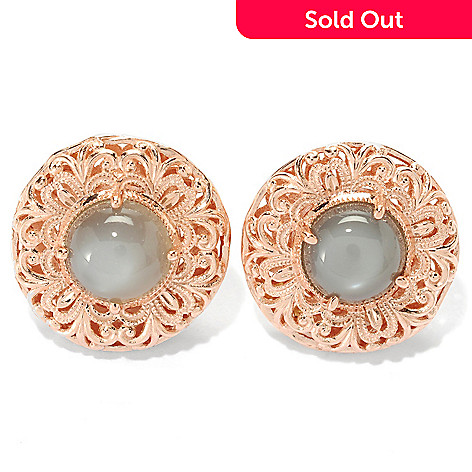 134-140 - Dallas Prince 8mm Round Moonstone Filigree Button Earrings