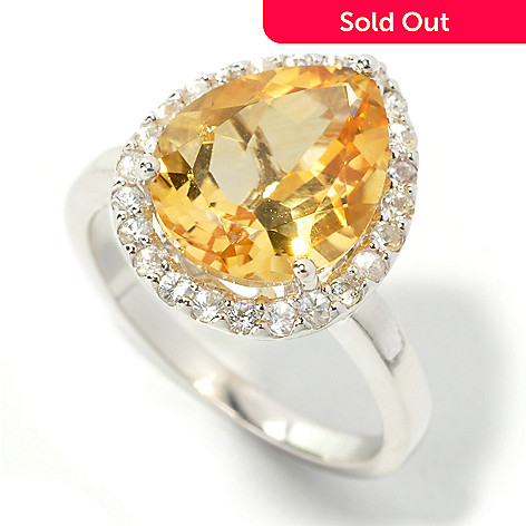 134-142 - Gem Insider™ Sterling Silver 4.64ctw Pear Cut Citrine & White Sapphire Halo Ring