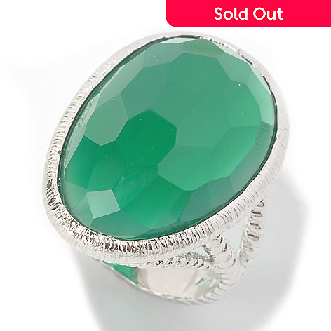 134-143 - Gem Insider™ Sterling Silver 24 x 16mm Freeform Green Agate Textured Ring
