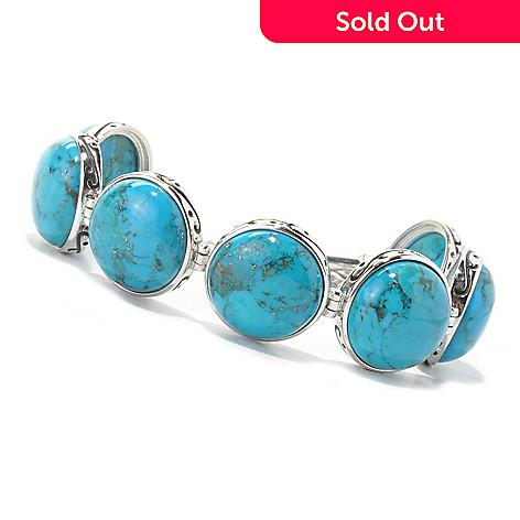 134-144 - Gem Insider Sterling Silver 7.75'' Round Turquoise Station Toggle Bracelet
