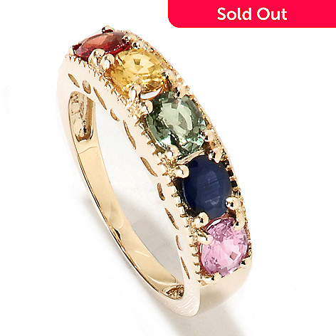 134-146 - Gem Treasures 14K Gold 1.60ctw Fancy Sapphire Marquise Cut-out Band Ring