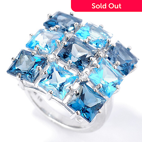 134-149 - Gem Insider™ Sterling Silver 10.70ctw Multi Blue Topaz & White Zircon Square Ring