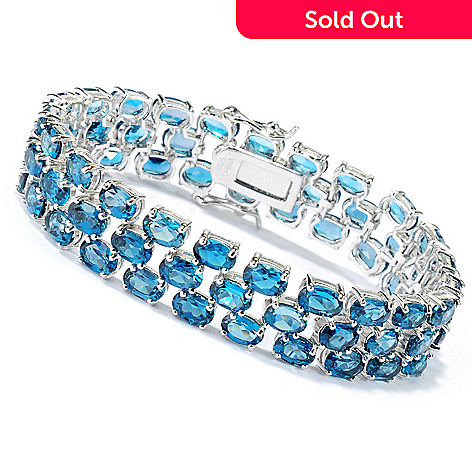 134-151 - Gem Insider™ Sterling Silver London Blue Topaz Three-Row Link Bracelet