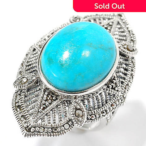 134-159 - Gem Insider™ Sterling Silver 18 x 14mm Oval Turquoise & Marcasite Ring